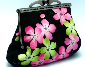 SALE - Pink and green flowers - Medium clutch / Coin purse (SF016) R1