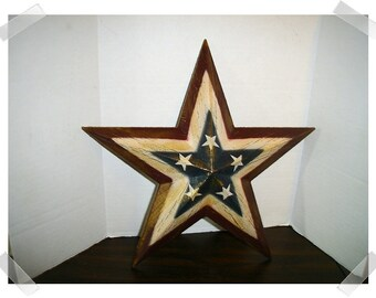 Wooden Star Wall Decoration/ Patriotic USA/Recycled*/ Home Decor*