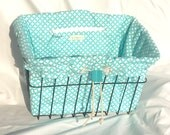 Bicycle Basket Liner in cotton fabric Blue Basket Weave