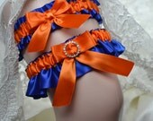 Bride's Garter,Wedding Garter Set Royal Blue And Orange Satin With Rhinestone