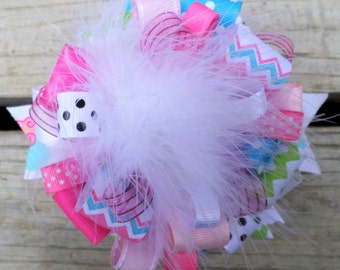 Big Hair bow Over the Top Colorful Cupcake