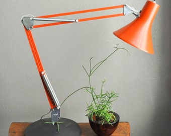 Vintage Modern Luxo Orange Lamp Gorgeous Industrial Mid Century Task Drafting Adjustable Work Light Architect