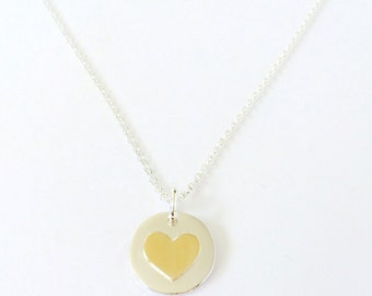 Personalized Heart Charm Necklace in Gold and Silver