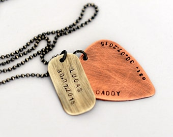 Guitar Pick Necklace Copper Guitar Pick Rustic Mens Necklace Mens Jewelry Hand Stamped Personalized