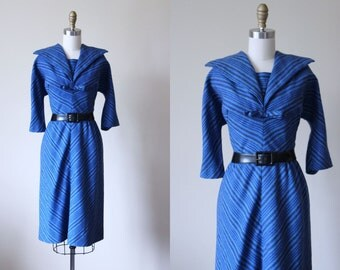 1950s Dress - Vintage 50s Dress - Blue Wool Striped Sailor Collar Day Cocktail Dress M - Salty Talk Dress