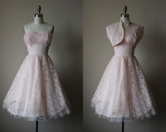 1950s Dress - Vintage 50s Dress - Pink Chantilly Lace Tulle Bust Shelf Prom Party Dress w Bolero XS - Pixie Stix Dress