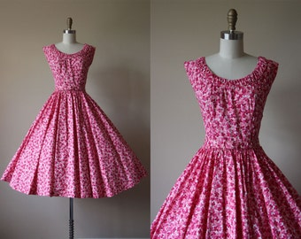 50s Dress - 1950s Vintage Dress - Pink Floral Print Polished Cotton Circle Skirt Party Dress XS - Miami Stroll Sundress