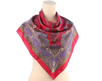 "Vintage PAISLEY Print Scarf 70s Bohemian RED Kerchief Purple Brown Retro Printed Vintage 1970s Gipsy Hippie Shawl Wrap 26 "" Square Neck Wear"