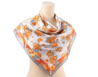 Burnt ROSES Printed Scarf 80s Beige Flowers Pattern White Grey Shawl Bohemian 30 inch Floral Vintage Formal Shawl Women Gift
