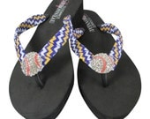 Flip Flops with Rhinestone Baseball & purple and yellow gold chevron ribbon straps- any colors