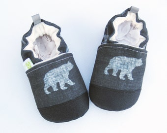 Eco-Canvas Vegan Bear Sketch / Non-slip Soft Sole Baby Shoes / Made to Order / Babies Toddlers Preschool