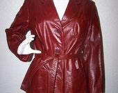 Leather Belted Burgundy Oxblood Dark Red Coat Jacket Berman's Size 16 Vintage 1970s Unisex Biker Trendy Winter Fall Chic Plus Size COUPON