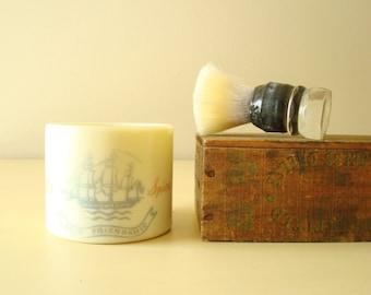 Old Spice glass mug & Made Rite shaving brush, mid-century Shulton shave mug, 1948 Wheaton mug, wet-shave enthusiast,  mens grooming