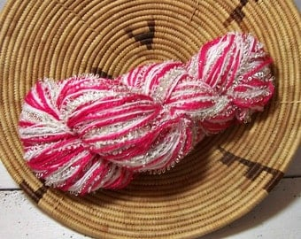 Gorgeous Pinks and Gold Combo Yarn, Novelty Yarn, Perfect Scarf or Cowl Yarn, Super Bulky  Hand Blended, BIN 23