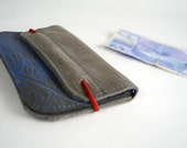 Wallet of blue and grey leather with screenprint