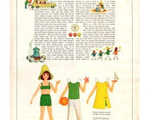 1966 Betsy McCall Vintage Paper Doll, McCall's Magazine, Retro Paper Doll, 1960's Paper Doll, Vintage Illustration, Betsy at a Beach Party.