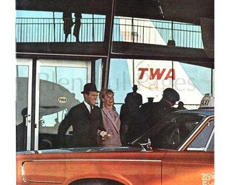 1960's TWA Vintage Ad, 1960's Travel, 1960's Airline, 1960's Fashion, Retro Travel, Advertising Art, Stewardess, StarStream 727, 1960's Jet.