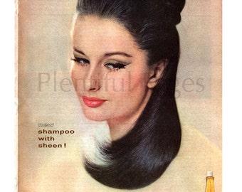 1963 Cleer Sheen Shampoo Vintage Ad, Richard Hudnut, 1960's Beauty, Advertising Art, 1960's Fashion, 1960's Hairstyle, Retro Beauty.
