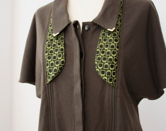 SALE Avant-Garde Olive Green Transformable JACKET with double collar and 2 zips LUDA