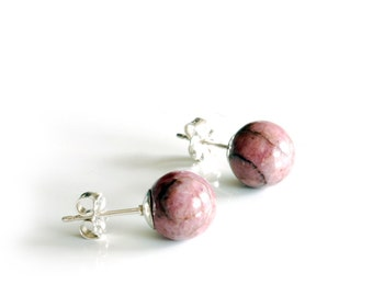 Pink Rhodonite studs with solid sterling silver posts , 8mm gemstone half drilled ball stud earrings , rose pink rhodonite marbled earrings