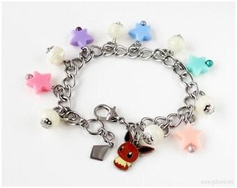 Pokemon Eevee Charm Bracelet, Stainless Steel, Pastel Charms, Star Charms, Gamer Gift
