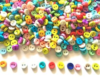 100 pcs  Tiny Button micro button 2 holes size 6mm mix color