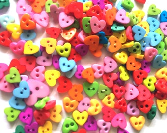 100 pcs  mix tiny heart button size 5 and 7mm Mix color