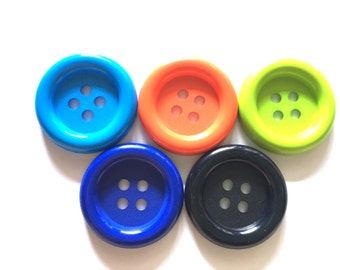 20 pcs - Big buttons - 4 hole - size 33 mm black blue orange green
