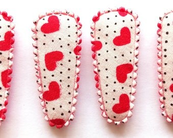 25 pcs - Cute Love Heart with Dot Hair Clip COVER  - size 35 mm - Red Color