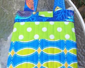 FISH CRAYON TOTE Bag Blue Boys Girls Coloring Activity Tote Bag