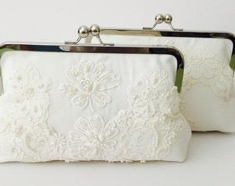CUSTOM, HEIRLOOM, REPURPOSE old wedding dress into a bridal clutch - reuse an old dress -  mom or grandmas -  Made from Moms Dress