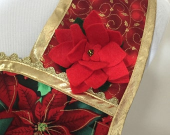 Traditional Holiday Poinsettia Apron with Gold Metallic Trim and Felted Floral Accent