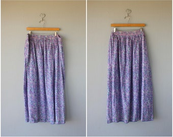 Vintage Indian Cotton Skirt | Printed Cotton Skirt | Vintage Maxi Skirt | Border Print Skirt | Festival Skirt | Bohemian Skirt