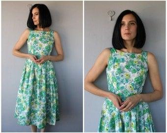 Vintage 1950s Dress | Vintage 50s Party Dress | 1950s Floral Dress | 50s Dress