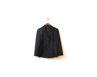 BTS SALE Vintage 90s Midnight Blue Floral Paisley Button Up Preppy Chic Blazer Jacket xs s