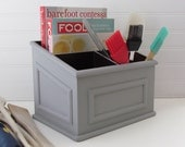 French Provencal Desk Organizer - Grey Chalk Painted Home Office Organizer - Rustic Decor - Home Office / Kitchen Gadgets Organization