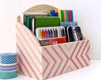 Modern Decoupaged Geometric Office Organizer - Modern House Decor - Dorm room Mini Desk organizer - Letter Sorter