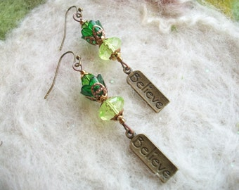 Green Earrings, Lucite Flower Beads with Believe Charm, Handmade Delicate Vintage Style
