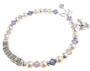 Name bracelet for Girls-tanzanite & amethyst-swarovski crystal cream pearl-any colors-personalized gift-butterfly sterling silver charm