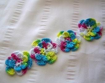 Appliques hand crocheted flowers set of 4 hippy chick cotton 1.5 inch