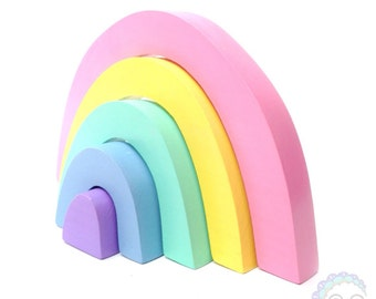 wooden stacking toy the pastel collection: rainbow stacker
