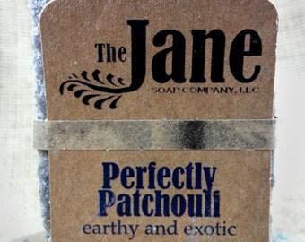 Small Perfectly Patchouli Sea Salt Soap - Patchouli Essential Oil Sea Salt Soap - Rustic Hot Process Soap