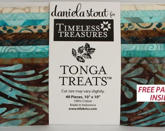 "Tonga Treats Romance 40 10"" Square pack Batiks  100% cotton fabric for quilting Timeless Treasures"