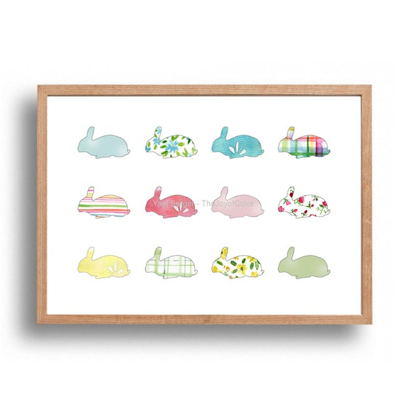 Rabbits art print, rabbits all over illustration, nursery decor, kids wall art, baby shower, pastel rabbits print, Easter bunnies art
