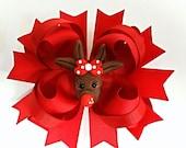 SALE - Boutique Hair Bow - Polymer Clay Bow Center - Twisted Hair Bow - Christmas Hair Bow - Red Bow - Reindeer Hair Bow