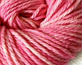 Hand Dyed Bulky Yarn Damsel in Distress bubblegum pink yarn 100% superwash merino wool 106 yards baby pink rose bulky weight yarn
