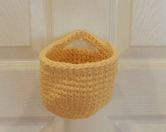 Crocheted Hanging Basket/ Small Crochet Basket/ Country Yellow Crocheted Hanging Basket