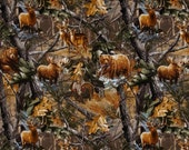 Realtree Camo Hunting Fabric - 100% Cotton Fabric - By the Yard - Animals in Forest Print, deer, bear, moose, turkey, duck hunting print