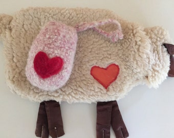 Felted soap pouch with soap heart design ready to ship