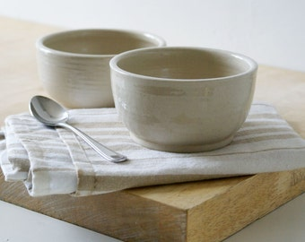 Set of two small stoneware bowls - hand thrown and glazed in simply clay